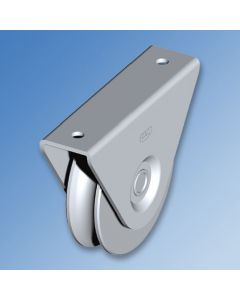"""Galvanised Wheel with External Support Bracket """"1/2 Round"""" Groove"""
