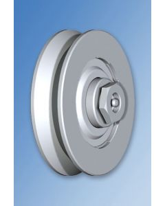 """Galvanised Wheel with Bearings """"V"""" Groove and Axle Lubrication Point"""