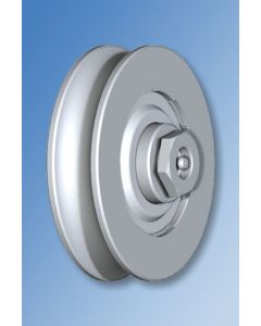 """Galvanised Wheel With Bearing """"1/2 Round"""" Groove and Axle Lubrication Point"""