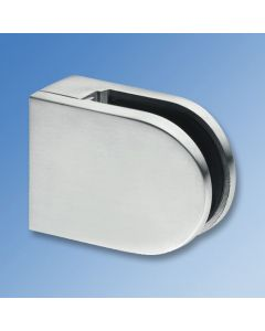 Glass Clamp CL1260 - Satin Stainless, Flat Mount, 12mm
