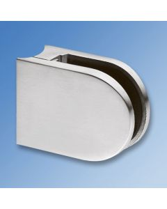 Glass Clamp CL1260 - Satin Stainless, Curved Mount, 12mm