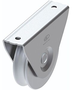 "Galvanised Wheel with External Support Bracket ""1/2 Round"" Groove"
