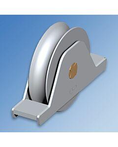"Galvanised Wheel With Internal Support Bracket ""1/2 Round"" Groove - 107/16 Wheel"
