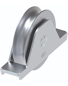 "Galvanised Wheel With Internal Support Bracket ""1/2 Round"" Groove - 20mm Round Track"