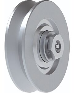"Galvanised Wheel with Bearings ""V"" Groove and Axle Lubrication Point"